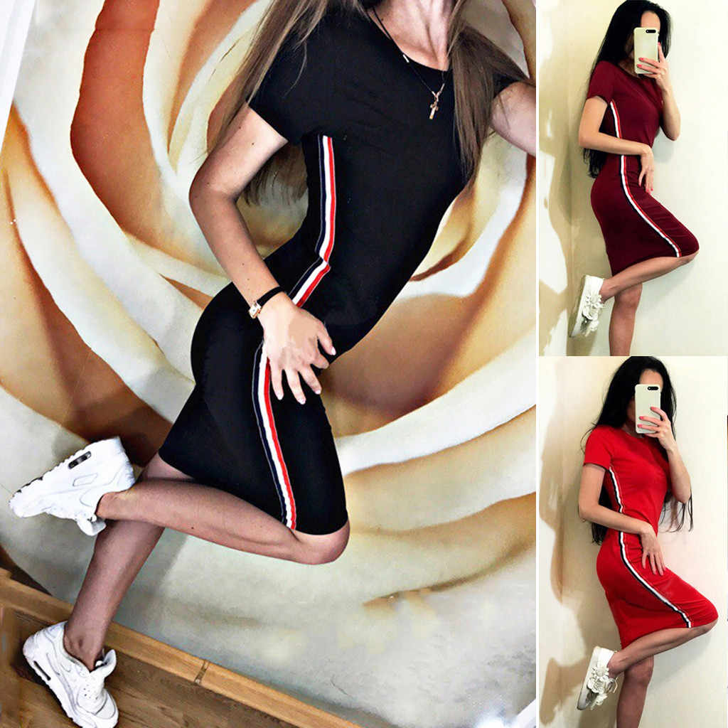 2019 Women's Casual Short-sleeved Round Neck Siamese Slim Pencil Shape Dress Sports tight quality polyester material new 508