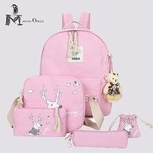 5 in 1 rosa leinwand rucksack sets für kinder schultasche set animal print deer rucksack für mädchen zurück zu schule mini rucksack
