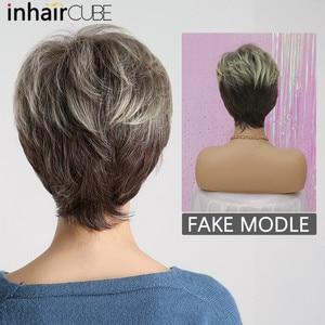 Image 5 - Inhaircube perruque naturelle avec frange synthétique, cheveux courts et lisses, cheveux courts et lisses, pour femmes, pour fête, sans colle