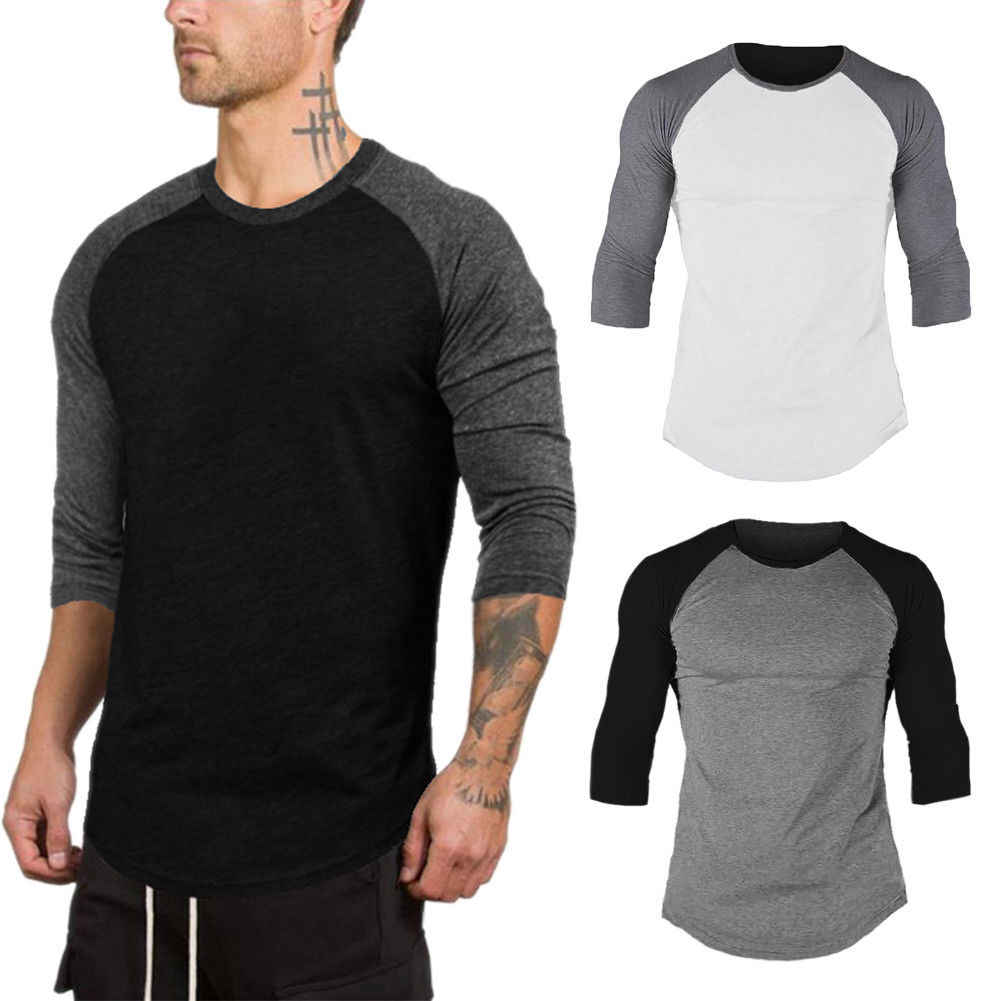 6e524bd8cac7 2018 Fashion Men's 3/4 Sleeve Raglan Baseball Slim Fit T-Shirts Summer  Casual