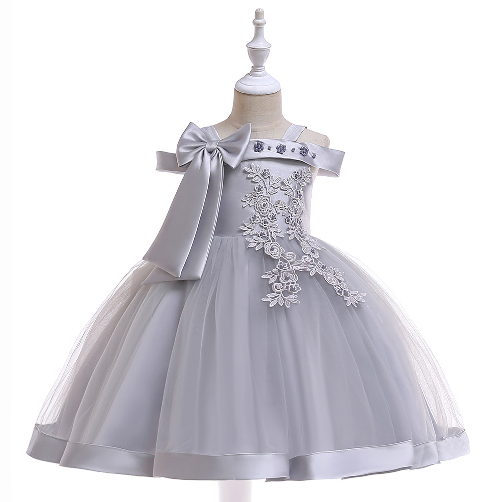 Off the Shoulder Grey   Flower     Girl     Dresses   For Wedding First Communion   dresses   Lace Appliques Prom Evening Gowns with Pearls