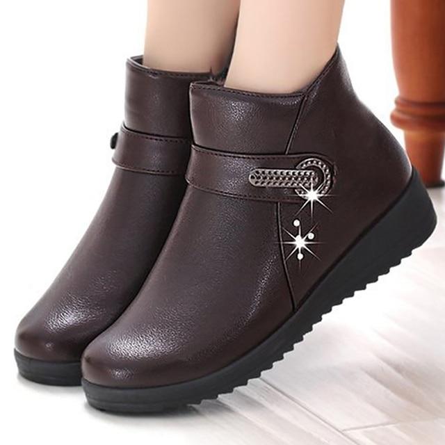 Vrouwen laarzen designer klinknagel leren laarzen vrouwen winter schoenen 2019 nieuwe fluwelen pluche slip-on enkellaarsjes voor vrouwen dames werk