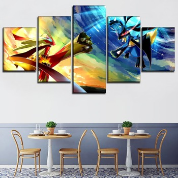 Canvas Art Printed Painting Wall Decor Elf Fight Poster 5 Panel Animation Pokemon Modular Picture For Home Decoration Kids Room 2