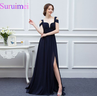 2015 New Arrival Bariano Ocean Of Elegance Navy Blue Color Chiffon Long Events Navy Blue Prom