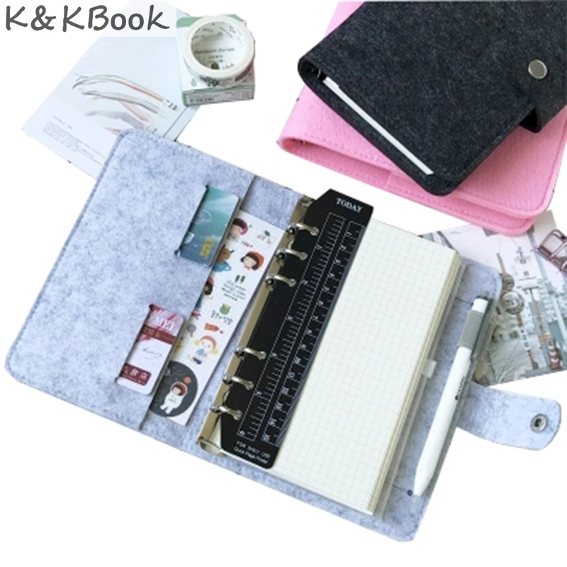 K&KBOOK Felt Spiral Notebook Diary Vintage 6 Holes Notebook Stationery Personal Notebook A5 A6 Weekly Planner Agenda Organizer