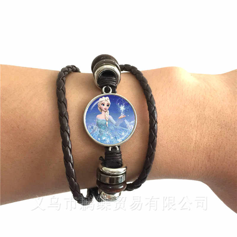 New Ladies Leather Bracelet Jewelry 20mm Class Cabochon Princess Elsa Anna Snow Queen Black/Brown Leather Bangle For Friends