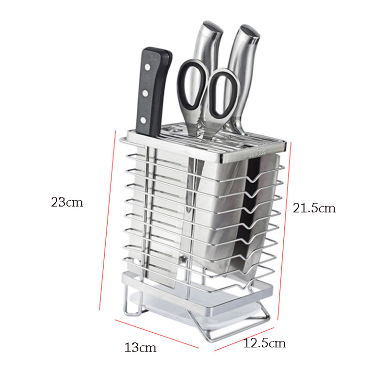 Stainless Steel Knife Holder Block Scissor Slot Storage Rack Kitchen Knives Organizer