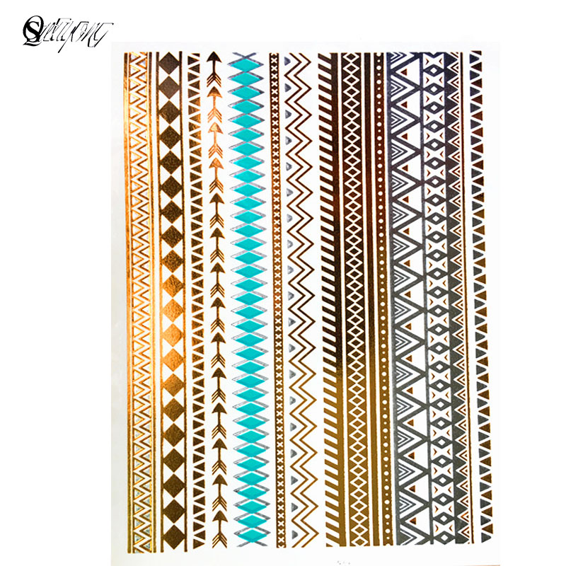 Temporary tattoo fashion products metal foil waterproof tattoo tattoo sticker paste gold bracelet wholesale free shipping