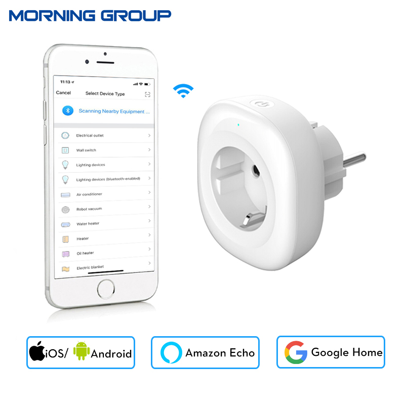 2018 New Mini Wifi Smart Socket EU Power Plug Mobile APP Remote Control Energy Monitor Works with Amazon Alexa Google Home smart eu plug wifi mini alexa socket 16a app control power timer switch voice control works with alexa google home and ifttt