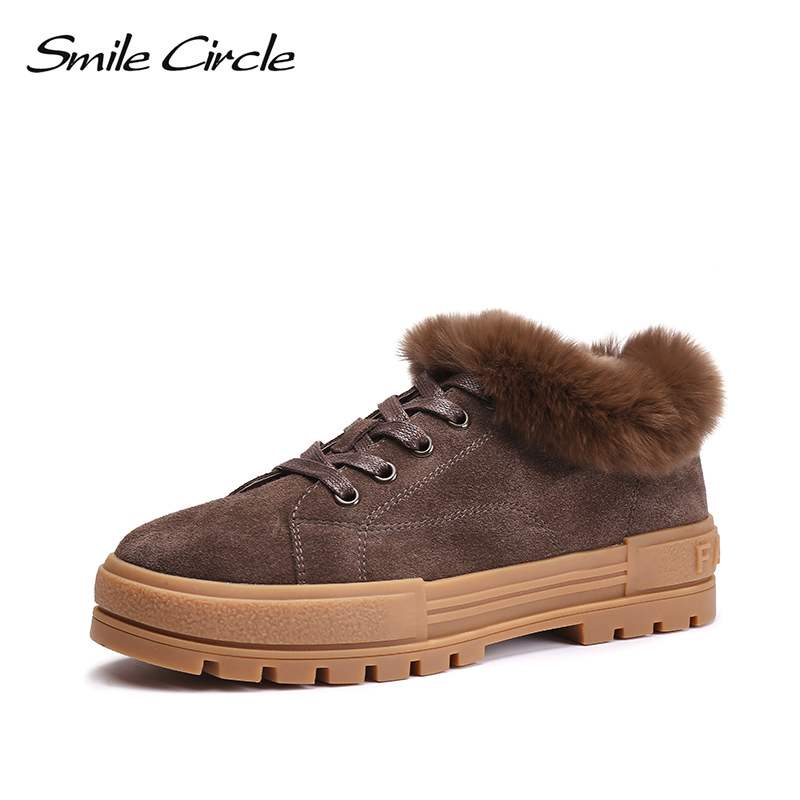 Smile Circle 2018 Winter Chunky sneakers Women Genuine Leather Warm Real Fur Lace-up Flat platform shoes Fashion casual shoes smile circle genuine leather sneakers women lace up flat shoes women comfortable air cushion sneakers 2018 casual shoes
