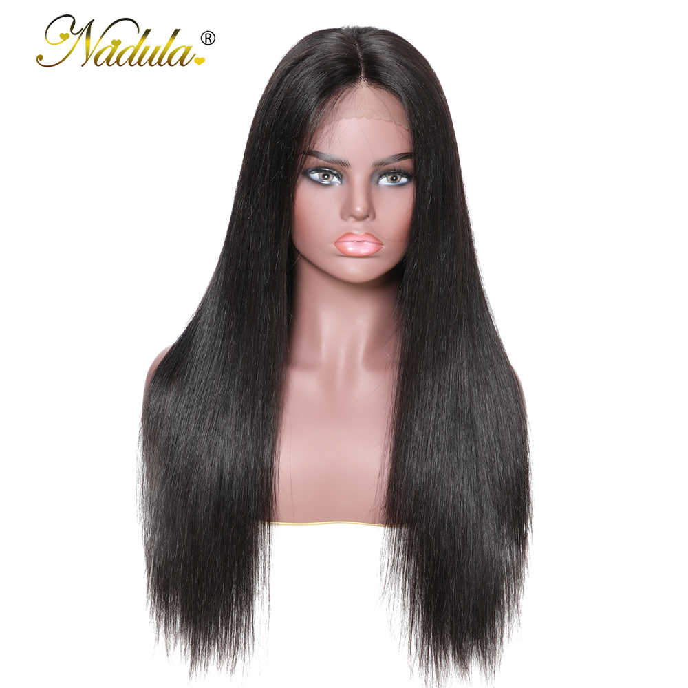 Nadula, pelucas de cabello humano liso con encaje completo, pelucas de cabello brasileño Remy con encaje frontal, peluca de encaje suizo con línea de pelo Natural