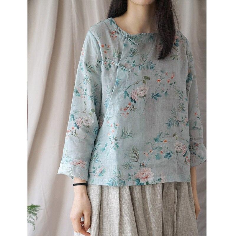 Robes Printemps Été Femmes Chemise Vintage Zen Imprimer à manches longues Mince Lâche Ramie Blouse Femmes Kimono