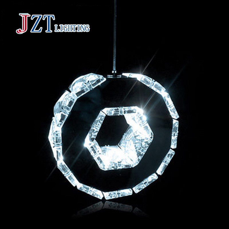 Фотография T 2016 New Simple Circular Crystal Pendant Light 3 Heads Modern Northern Europe Creative Lamps For Restaurant Fashion DHL Free