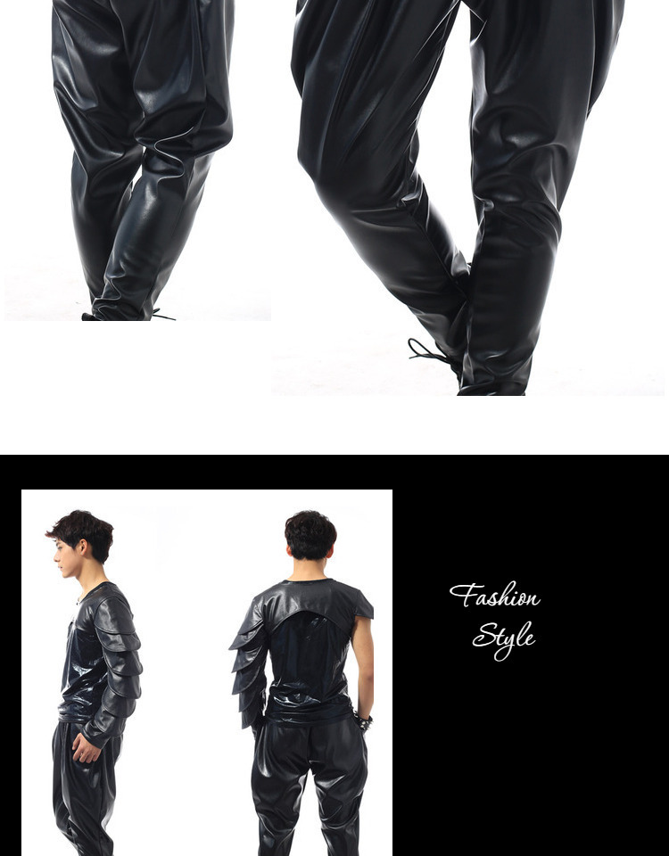 Best version, New Fashion Brand Hip Hop personality Performance sweatpants Male Trousers stage Faux Leather Harem pants 41