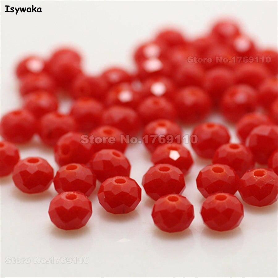 Isywaka разноцветные 4*6 мм 50 шт Австрийские граненые стеклянные бусины Rondelle, круглые бусины для изготовления ювелирных изделий - Цвет: Jade Red