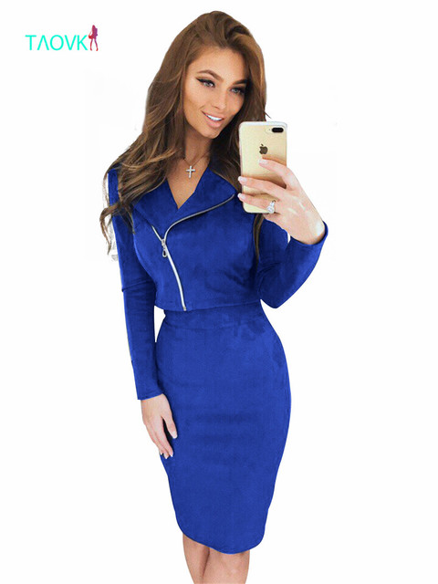 TAOVK skirt Suit Open Fork spring autumn zipper package hip jacket + skirt 2 two Piece Set Suede sets
