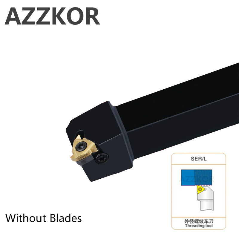AZZKOR External Thread Turning Tools Cutting Bar SER1212H16 Lathe Cutter Wholesale Carbide Inserts CNC Holder Tool SER2020K16