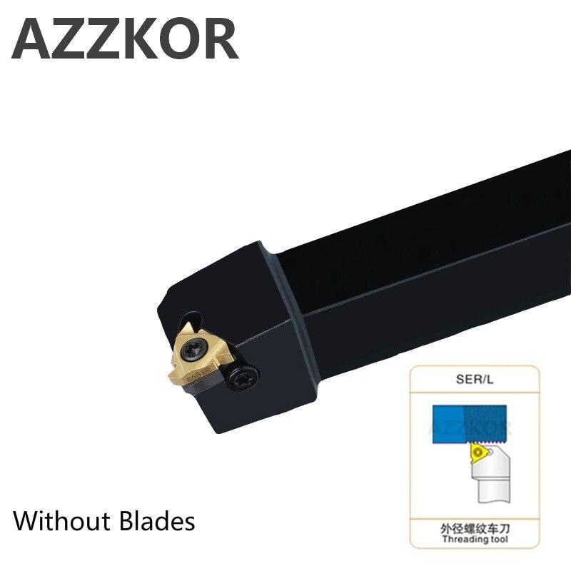AZZKOR Rosca Externa Ferramentas de torneamento Corte Bar SER1212H16 SER2020K16 pastilhas de Metal Duro CNC Titular Ferramenta Torno Cortador Atacado