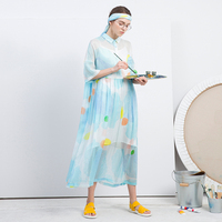 IRINAW040 new arrival 2018 original print women loose long silk shirt dress summer