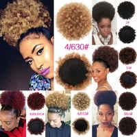 2019 nowych kobiet Afro kok peruka z kucykiem syntetyczne perwersyjne Puff kręcone Puff klip w sznurkiem