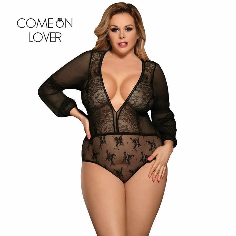3dd21e9014 Comeonlover Black Blue Plus Size Lace Sleeve Long Sleeve Bodysuit Fashion  Summer Playsuit Bodysuit Women Transparent
