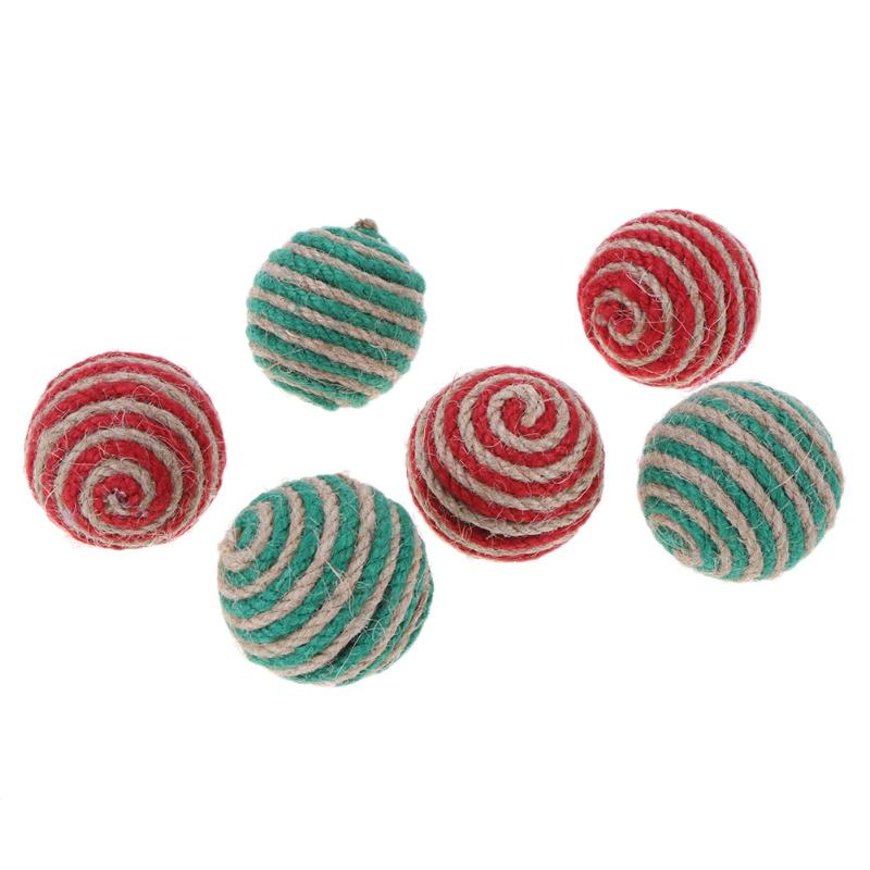 2pcs Red Green Cat Toy Ball Interactive Cat Toys Play Chewing Rattle Scratch Sisal and feathers Ball Training Pet Cat Supplies