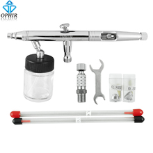 цена на OPHIR Dual-Action Airbrush Pro Set Kit Hobby Crafts Auto Paint Cake 3 Tip for Air Compressor _TA054