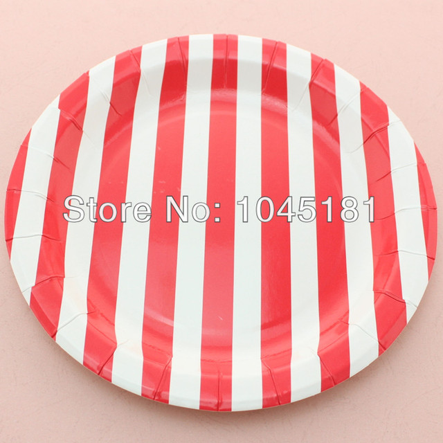 ipalmay Disposable 9  red/ white Round Striped Paper Plates Chrismas Party Decoration Paper Plates & ipalmay Disposable 9