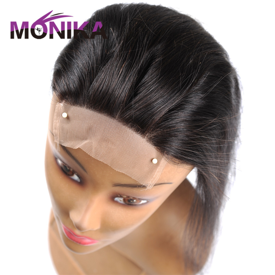 Monika Brazilian Straight Piece 130% Density Human Hair Lace Closure Free/Middle/3
