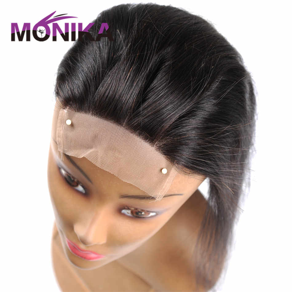 Monika Brazilian Closure Straight Hair Closure Piece 130% Density Human Hair Lace Closure Free/Middle/3 Part NonRemy Top Closure