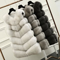 Real Fur Vest Women New Winter Natural Fox Fur Coat Genuine Leather Jacket Thick Warm Long Sleeveless Vests Gilet