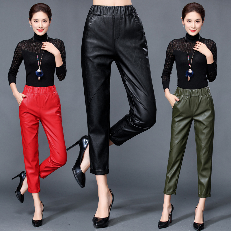 Autumn and winter new style leather leather pants female high waist Haining sheepskin feet pants casual loose nine points 2017 autumn and winter new coming all match jeans sequined female midlle waist elastic pencil pants female
