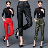Autumn and winter new style leather leather pants female high waist Haining sheepskin feet pants casual loose nine points
