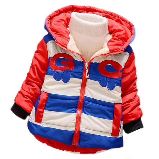 $ Number $ number meses de Invierno Recién Nacido Bebé Abrigos Outwear Invierno Cálido color de Rayas Chaqueta Caliente Del Bebé muchachas de Los Muchachos de La Manera ropa de abrigo