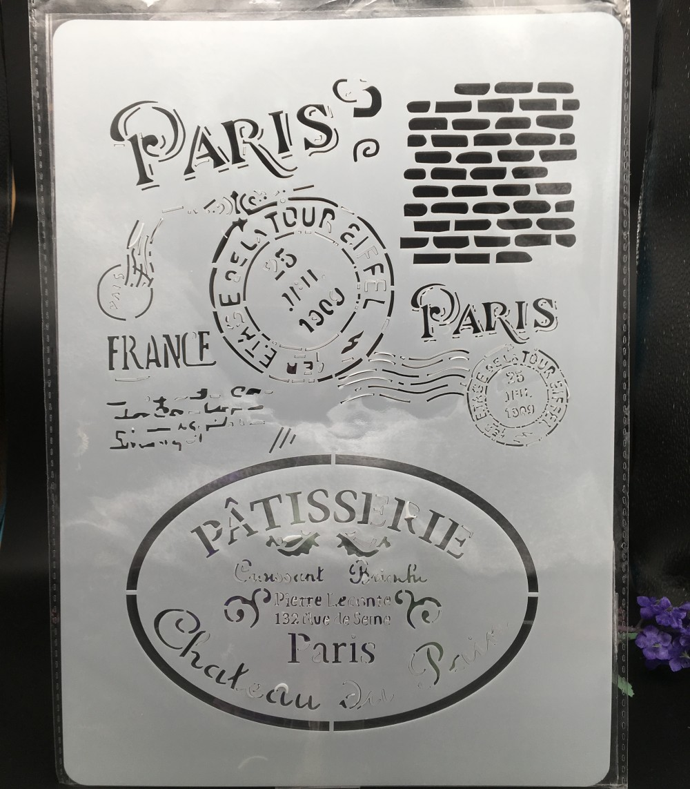 29*21cm A4 Paris Wall Stamp DIY Layering Stencils  Painting Scrapbook Coloring Embossing Album Decorative Card Template