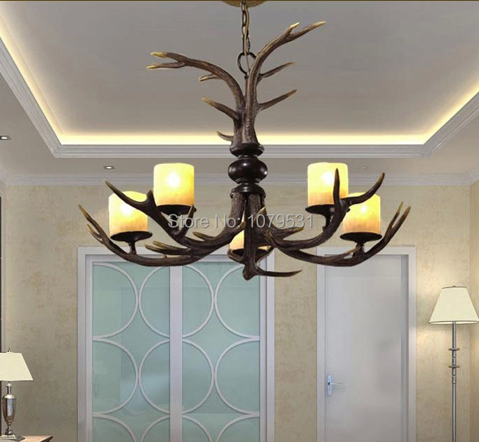 Europe Country 5/6 Heads American Retro Pendant Lamp Fixture Resin Deer Horn Antler Lampshade Pendant Light , E27 110-240V
