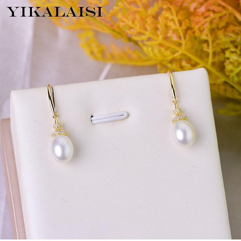 8-9MM Natural White Freshwater Pearl 925 Sterling Silver Hook Dangle Earrings