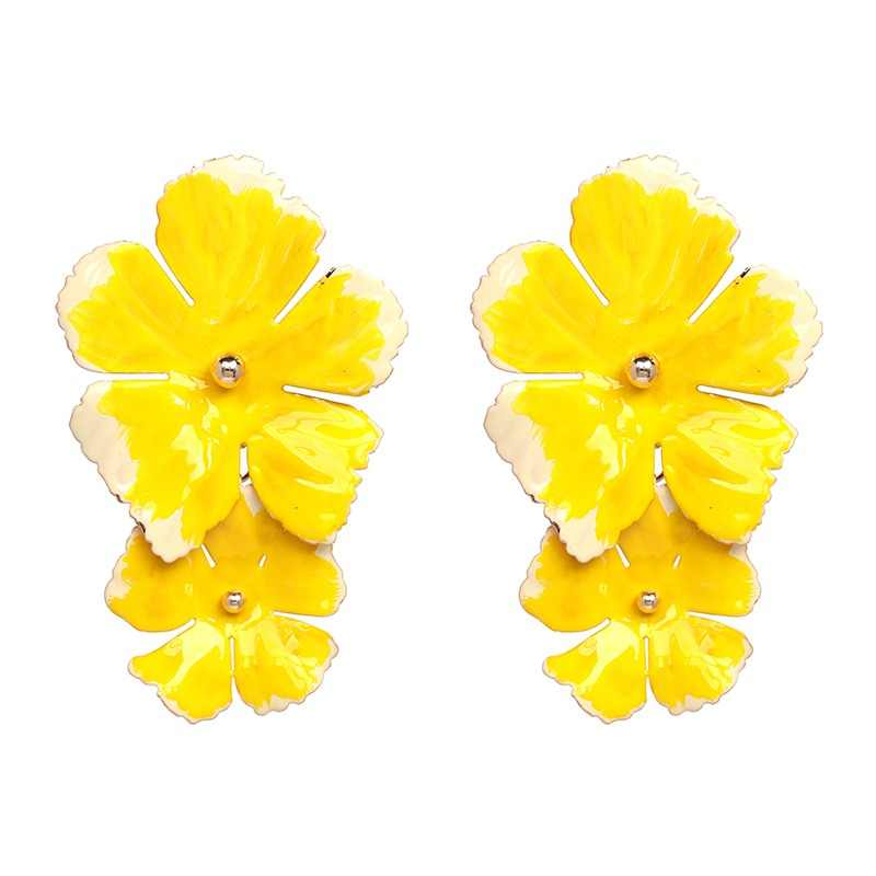 JUJIA New Korean Fashion Charm Flower Earrings For Girls Women Elegant Party Statement Brincos Bijoux Gift