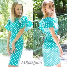 Bodycon Solid Dress Petal Sleeve Vintage Blue Dress Female Sheath Pin Up Dot Dress Ruffle Sleeve Green Sheath Dresses