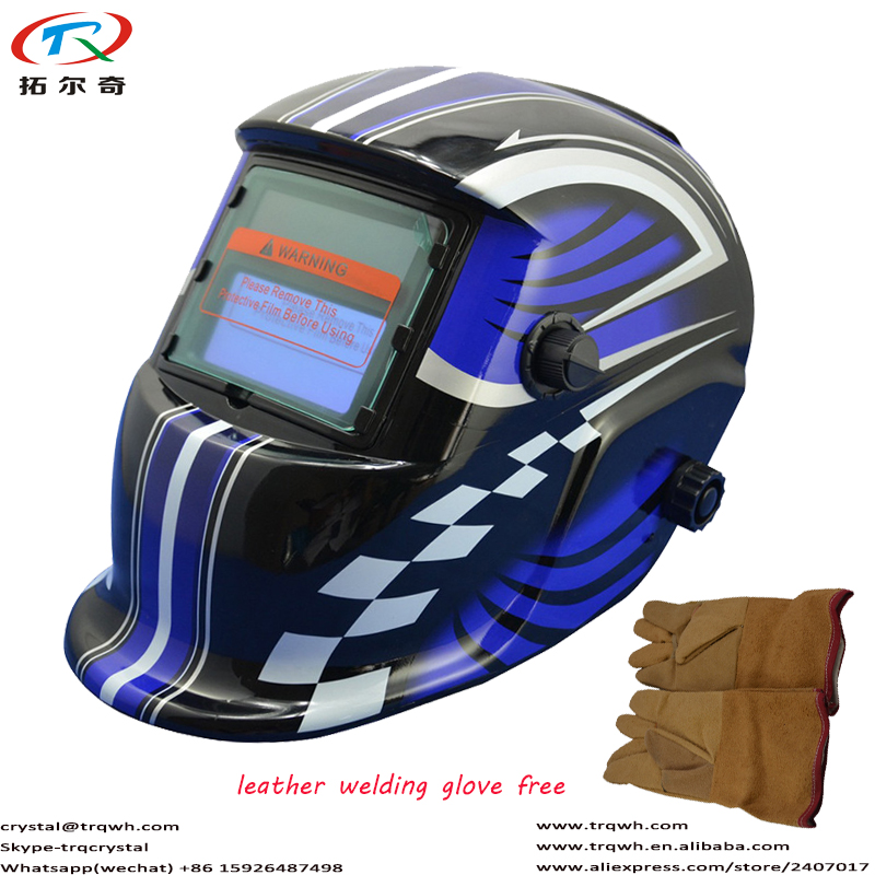 Blue Motocycle Decal Welding Helmet Auto Darkening Welding Glove Leather Material Welding Equipment Protect TRQ-HD01-2200DE-G