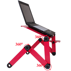 Image 4 - Magic Union Aluminum Alloy Laptop Table Folding Notebook Desktop Stand With Cooling Fan Bed Laptop Tray Desk Study Desk