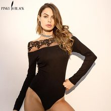 Pinky Is Black Sexy lace off shoulder bodysuit Summer elegant women jumpsuit romper Bodycon party club overalls playsuit цена