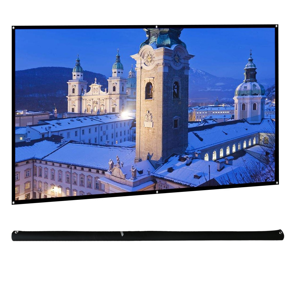 CAIWEI 16:9 HD 72 Inch 3D Portable Projector Screen Fabric Outdoor Movies Club Bar Matte White Film Hanging Projection Screen