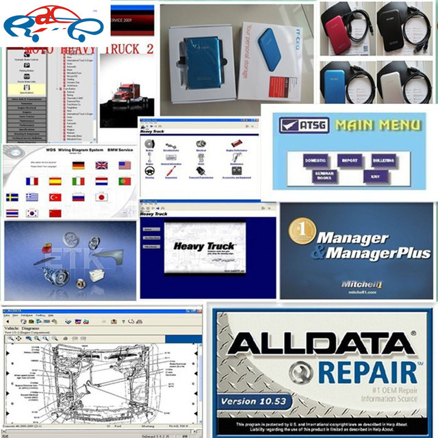 all data 10.53 alldata and mitchell software 2015 + mitchell heavy truck + vivie workshop 47in1 1tb new hdd free shipping
