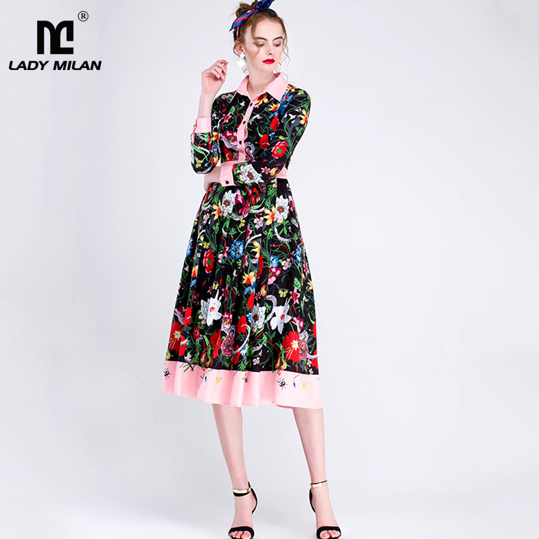 New Arrival 2018 Womens Turn Down Collar Long Sleeves Printed Runway Dresses with Plus Sizes