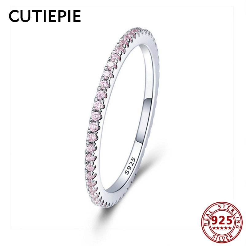 Cutiepie 100% Actual 925 Sterling Silver Rings For Girls Easy Basic Wedding ceremony Items Pink Cubic Zircon Ring Luxurious Feminine Jewellery
