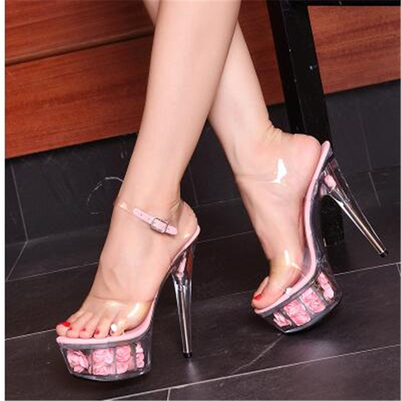 Steel Pipe Dance Shoes 2018 New Crystal Transparent Sandals Waterproof Rose  Flowers Super High Heel 15cm Female Shoes-in High Heels from Shoes on ... 67f1cb13c755