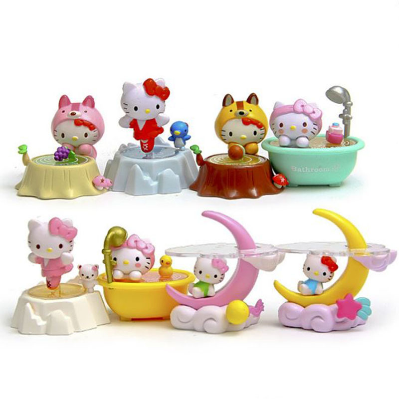 8 pcs/lot Creative Cartoon Hello Kitty Scene Styles Moon Bathtub Toys Dolls Anime Action Figure Birthday Gifts