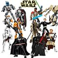 Star Wars Buildable Action Figure Rey Poe Jango Fett Finn Darth Vader General Grievous Model Building Block Compatible with lego