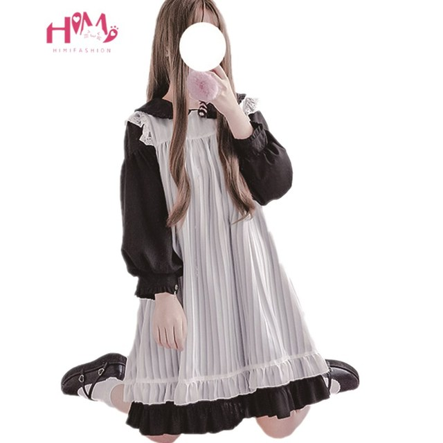 5893ec7eba Japanese Kawaii Women Dress Lolita Teen Girls Cute Lace Ruffle Overall  Dress Long Sleeve Vintage Two